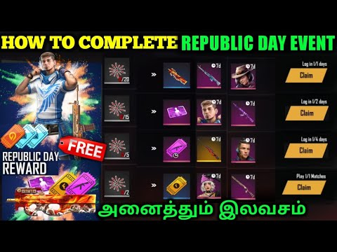 REPUBLIC DAY EVENT FREE FIRE FULL DETAILS | FREE CHARACTERS, GUNSKINS & MORE REWARDS | TAMIL TUBERS