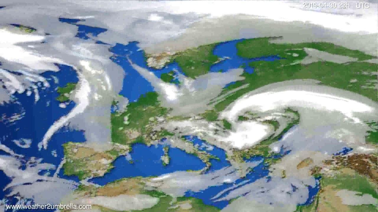 Cloud forecast Europe // modelrun: 12h UTC 2019-04-27