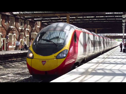 Virgin Trains Pendolino, arrival and departure from Stoke-on-Trent
