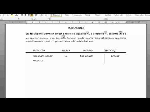 Tabulaciones en Word 2010