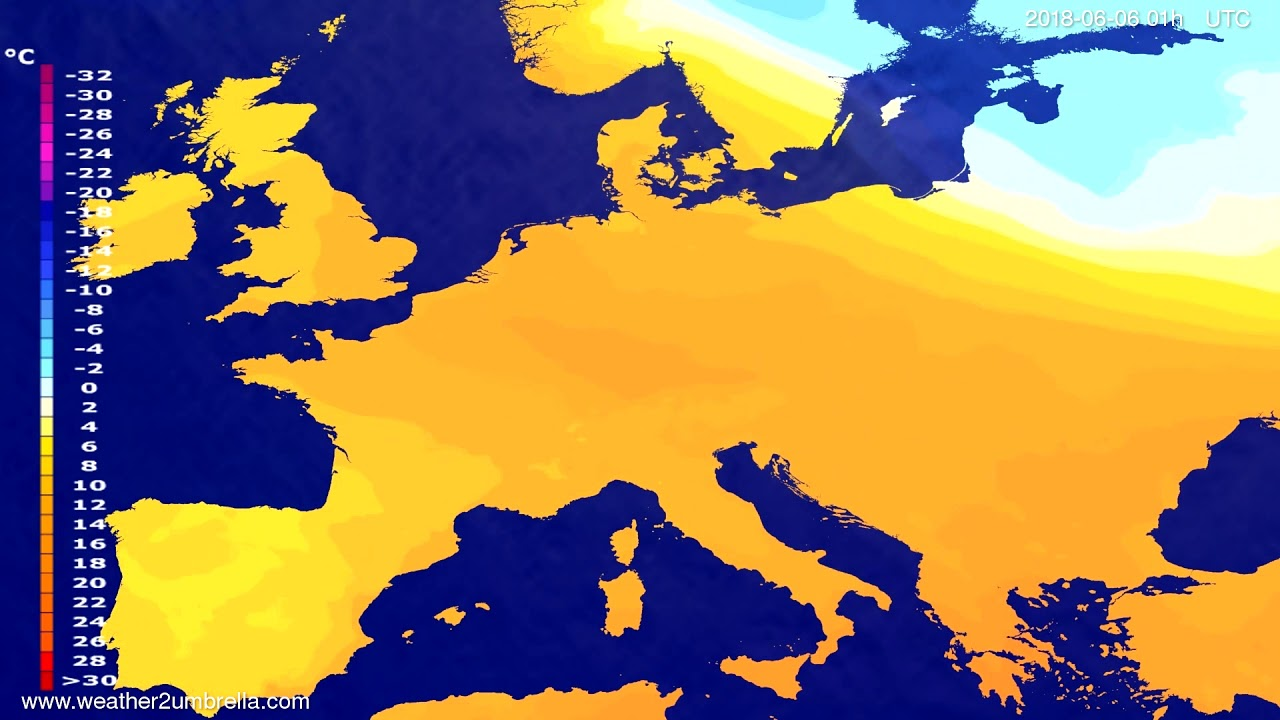 Temperature forecast Europe 2018-06-02