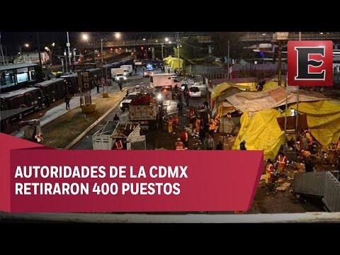 Granaderos retiran estructuras metálicas del paradero de San Lázaro