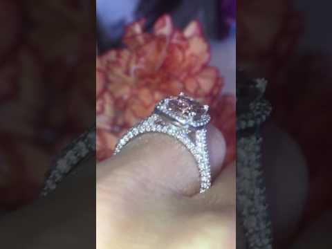 $3350  MORGANITE ENGAGEMENT RING DIAMOND ENCRUSTED HALO RING