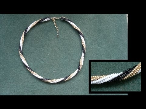 Beading4perfectionists: Stitch nr 10: Herringbone with a twirl miyuki seedbeads beaded tutorial