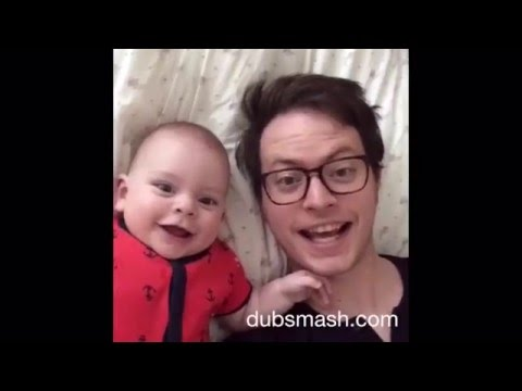 Dad and baby dubsmashing for mom!