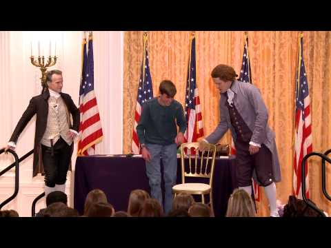 Gingrigh Washington Jefferson - March 25, 2013: Two of America's Founding Fathers went head-to-head in an age-old clash at the Nixon Presidential Library.