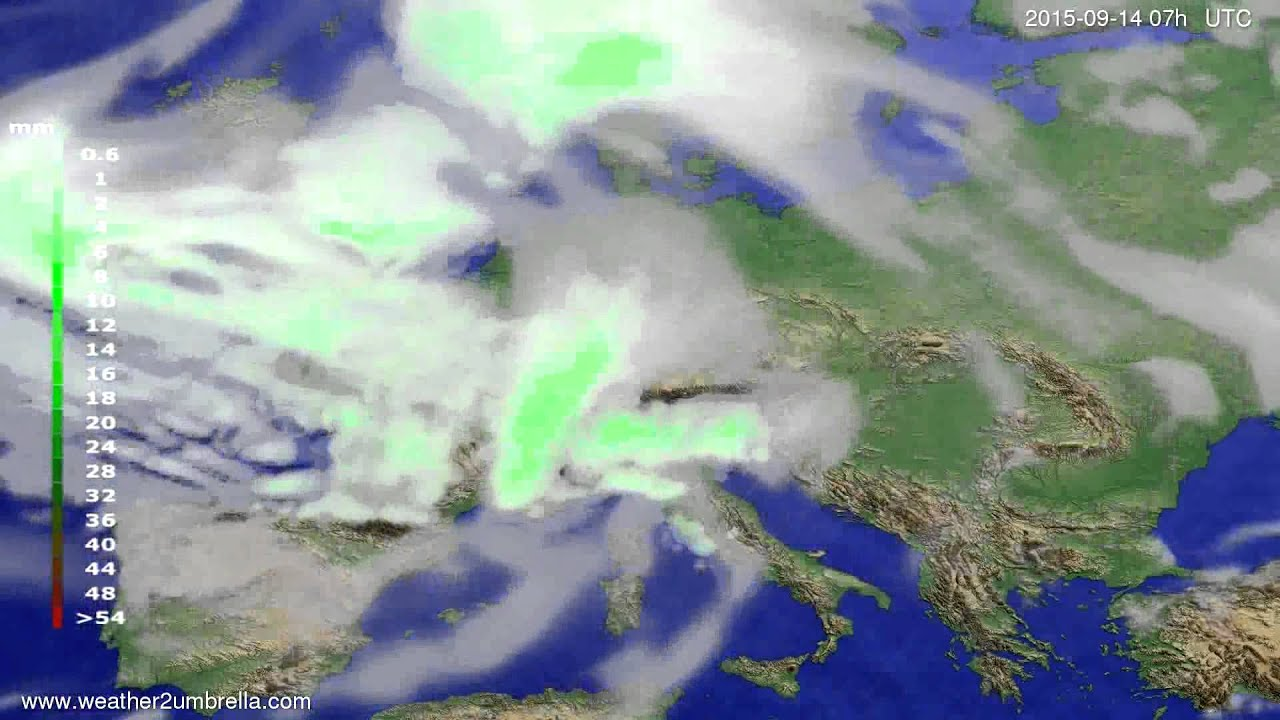 Precipitation forecast Europe 2015-09-11