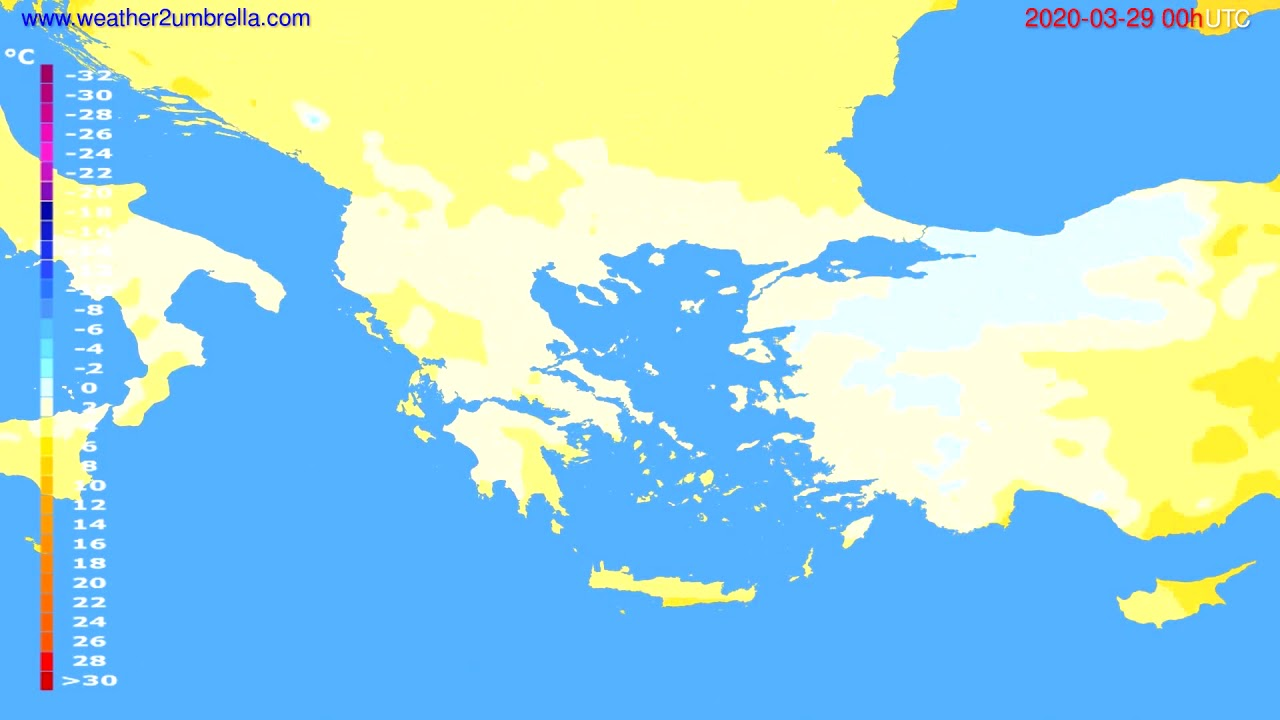 Temperature forecast Greece // modelrun: 00h UTC 2020-03-28
