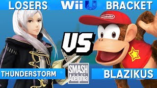 This Super Smash Bros. 4 Wii U tournament match features Thunderstorm as Robin vs Blazikus as Diddy Kong. This Losers Bracket match at SMASHADELPHIA 2017 was livestreamed on 06/24/17.Enjoy the video? Hit the like button and drop a comment and let us know your favorite part. Share it with your friends and spread the hype!Check out our website:► http://clashtournaments.comWatch our live streams:► http://twitch.tv/clashtournaments► http://hitbox.tv/clashtournamentsFind us on social media:► http://facebook.com/clashtournaments► http://youtube.com/clashtournaments► http://twitter.com/clashtournament► http://instagram.com/clashtournamentsBe sure to Follow and Subscribe to us to keep up to date on all of our content. Click the bell next to the subscribe button to receive instant notifications on all uploads!