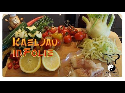 Kabeljau auf mediterranen Gemüse in Folie
