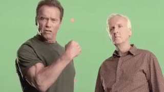 Arnold Schwarzenegger and James Cameron filming PSAs calling for \
