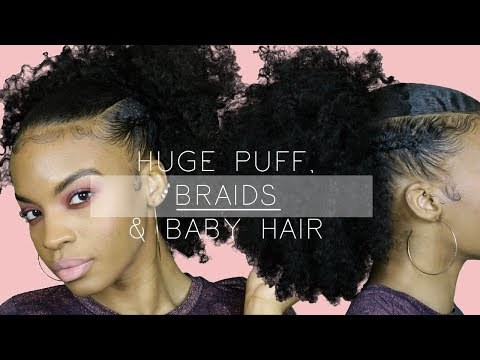 Curly hairstyles - Natural Hairstyle  HUGE CURLY PUFF w/Braids & Baby Hair