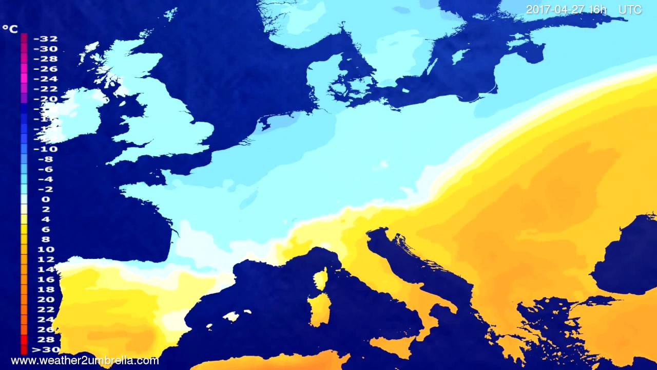 Temperature forecast Europe 2017-04-24