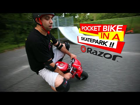 Riding a Razor Pocket Bike in the Skatepark