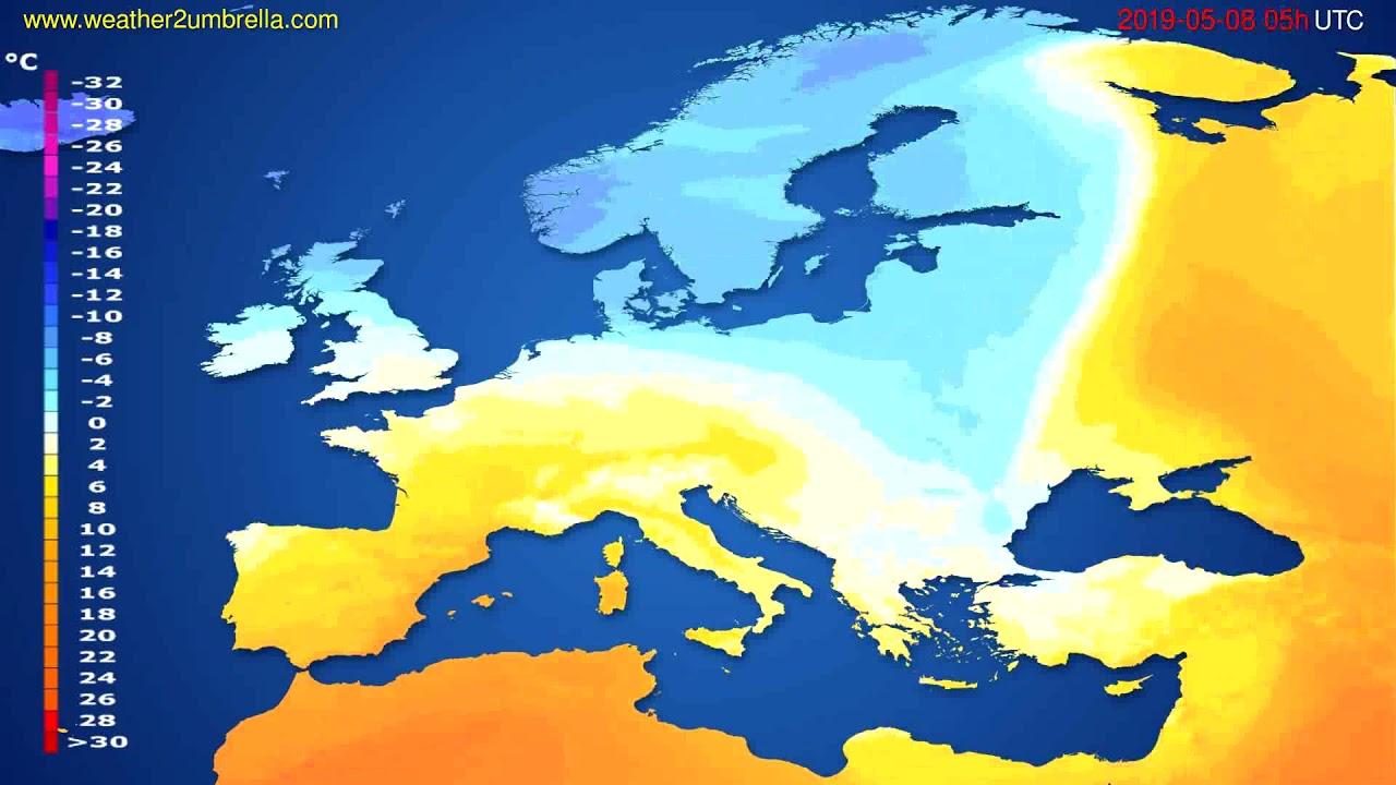 Temperature forecast Europe // modelrun: 00h UTC 2019-05-06