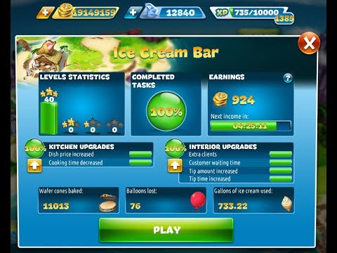 Cooking Fever-Ice Cream Bar Level 1-40(3 Stars)