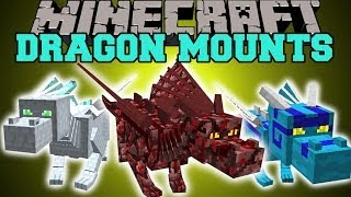 Minecraft: DRAGON MOUNTS (RIDE AETHER, GHOST, FIRE, ICE, WATER,&FOREST DRAGONS!) Mod Showcase