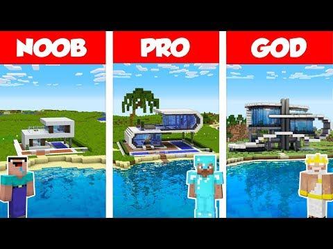 Minecraft NOOB vs PRO vs GOD MODERN BEACH HOUSE BUILD CHALLENGE in Minecraft  Animation