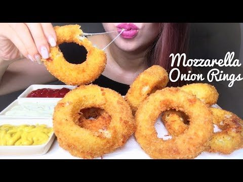 ASMR BEST MOZZARELLA ONION RINGS | RECIPE + EATING SOUNDS (No Talking)