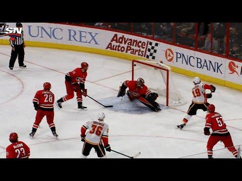 Video: Matthew Tkachuk has pass deflect back, roofs goal past Scott Darling