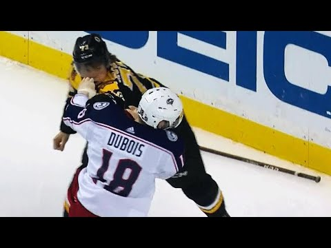 Video: Fight ensues after Bruins' McAvoy steps into Blue Jackets' Dubois