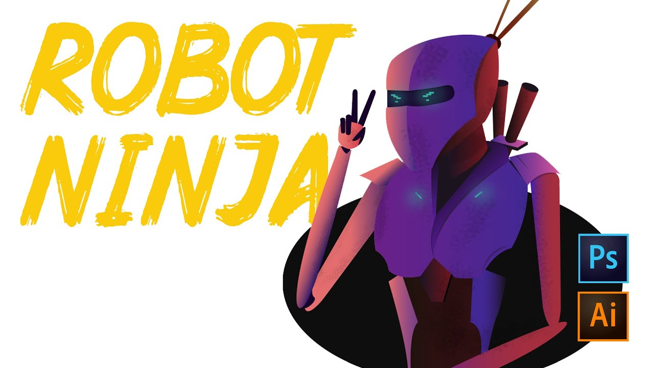 Robot Ninja Illustration