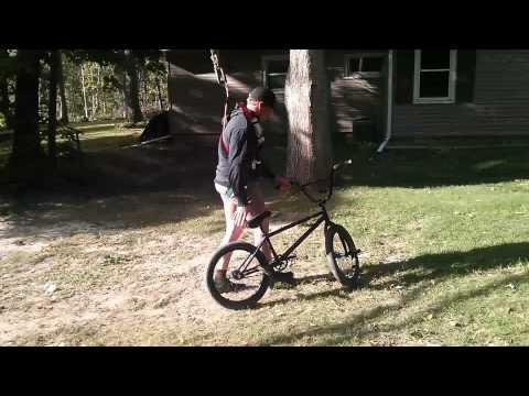 My buddy whos a BMX rider built a bike swing. Pulls a few tricks on it.