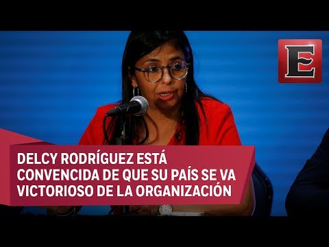 Canciller venezolana se despide de asamblea de la OEA en Cancún