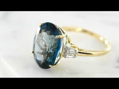 London Blue Topaz & Baguette Sapphire Ring, 14K, 10.55 ct on QVC