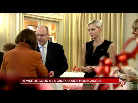 Parcels handed out at Red Cross by T.S.H. Prince Albert II and Princess Charlene
