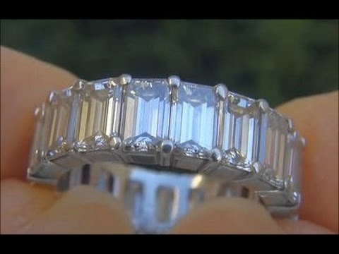 STUNNING VS 7.00 Carat Diamond Eternity Ring Solid Platinum - 19 BIG SIZE Emerald Cut Diamonds