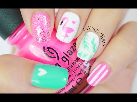 Nail - Flamingo nail art for summer! :D With palm tree fronds! If painting animal shapes are tricky, or if it's difficult to paint it on your non dominant hand, make a DIY nail polish sticker with...