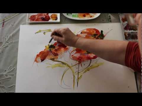 Wasser, Farbe und Mut – Tutorial wilde Mohnblumen