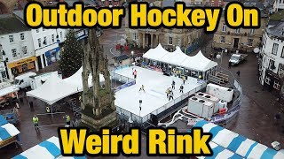 Outdoor ice hockey on weird rink! UK Winter Classic 2018 Mansfield.
