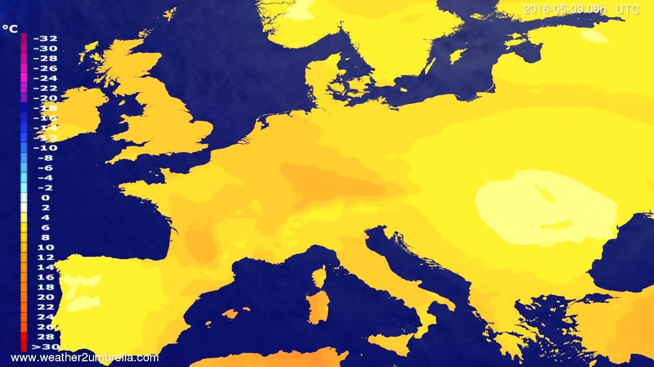 Temperature forecast Europe 2016-05-05