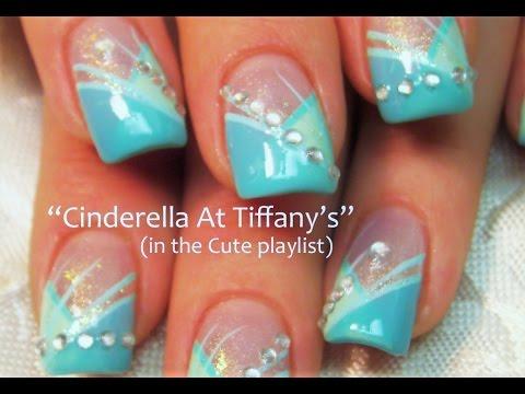 nail art tiffany con swarovski