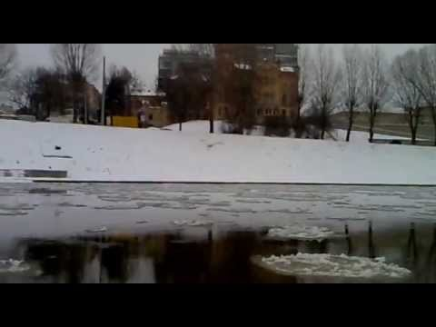 Neris River in winter at Green Bridge, V
