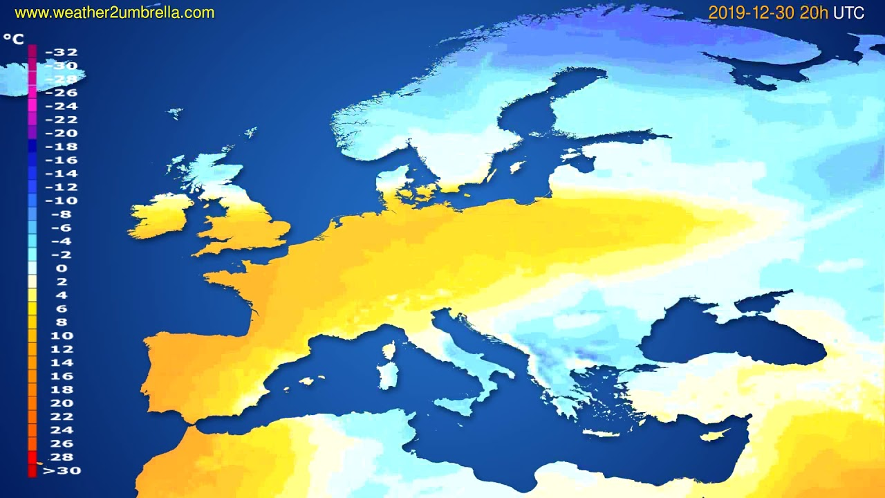 Temperature forecast Europe // modelrun: 12h UTC 2019-12-29