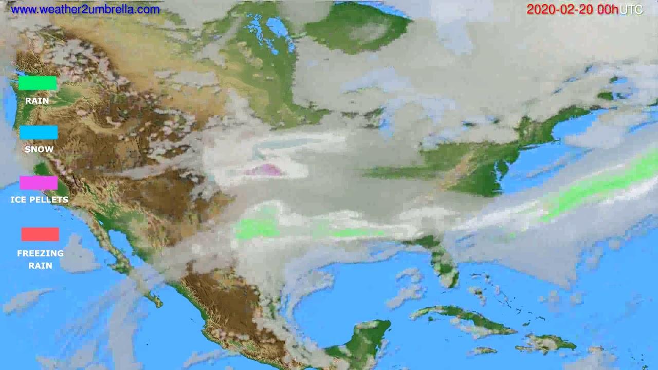 Precipitation forecast USA & Canada // modelrun: 00h UTC 2020-02-19
