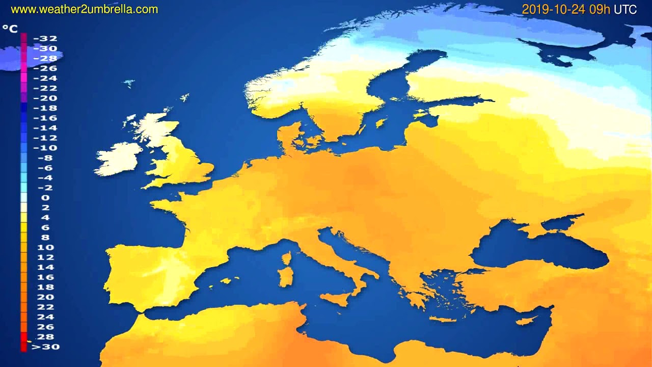 Temperature forecast Europe // modelrun: 00h UTC 2019-10-22