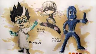 Cartoon Series:  Disney Jr's PJ Masks Villains TIme-Lapse Drawing
