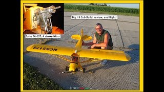 7-1/2 Foot Wingspan, 12 Lbs, and Yellow is this Elite Models kit from Value hobby. I used the Vintage Saito FA-120 4 stroke...