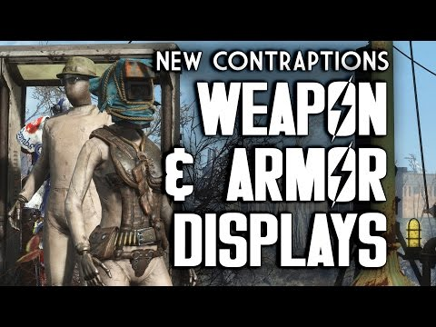 All Weapon & Armor Display Racks From Contraptions Workshop - Fallout 4 DLC
