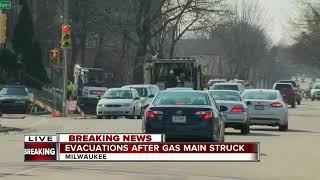 Evacuations underway after a gas main struck