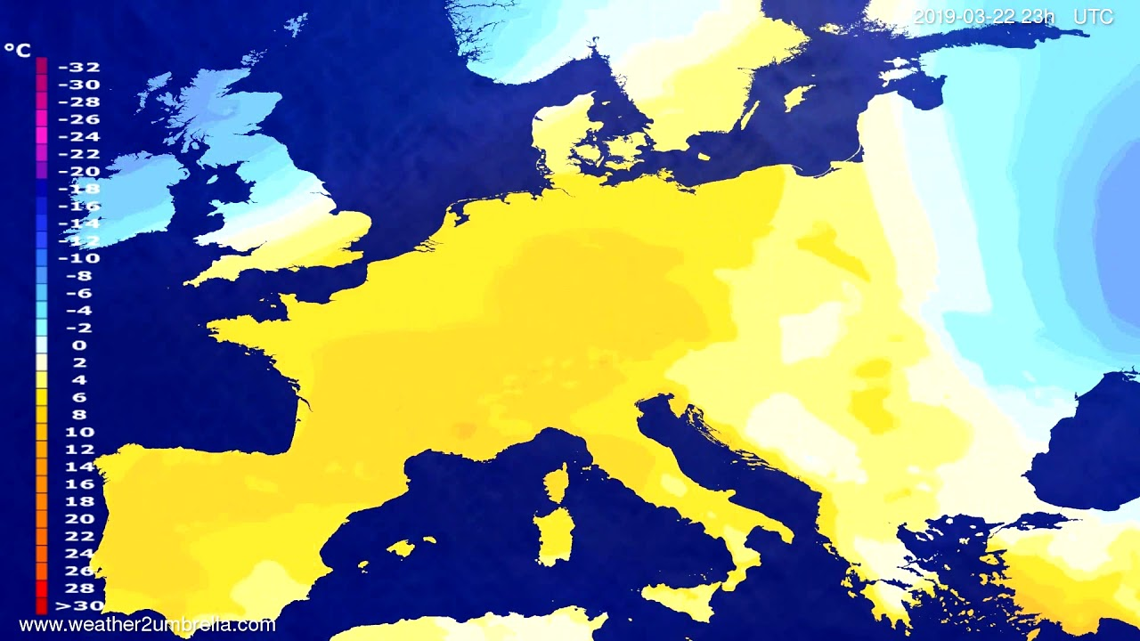 #Weather_Forecast// Temperature forecast Europe 2019-03-21