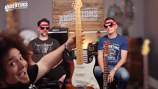 Video Blindfold Fender Strat Challenge - Can We Tell a £300 Guitar from a £3000 one?!? MP3, 3GP, MP4, WEBM, AVI, FLV Juli 2018