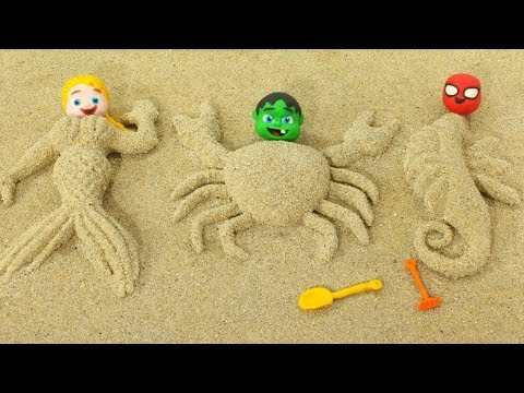 SUPERHERO BABIES MAKE SAND FIGURES ❤ SUPERHERO PLAY DOH CARTOONS FOR KIDS