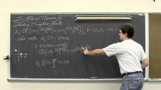 De Moivre's Theorem Roots Of Polar Complex Numbers