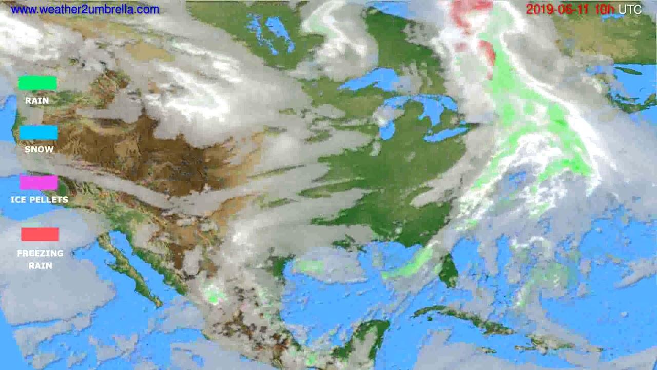 Precipitation forecast USA & Canada // modelrun: 00h UTC 2019-06-09