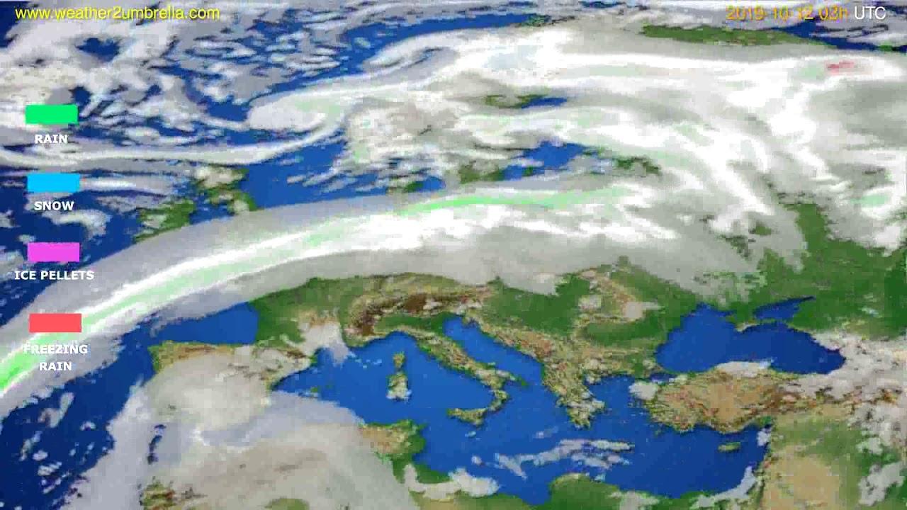 Precipitation forecast Europe // modelrun: 00h UTC 2019-10-09